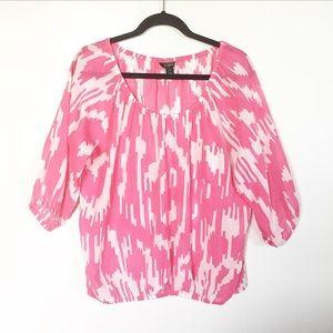 J Crew Pink Printed Peasant Top